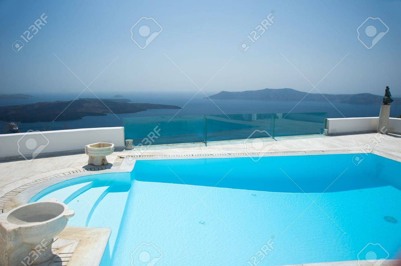 Swimming pool at Santorini island Greece Stock Photo - 16171368