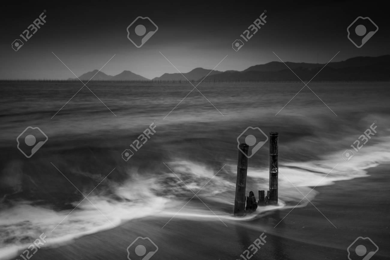 Fujian xiapu county beaches black and white scenery stock photo 37027182