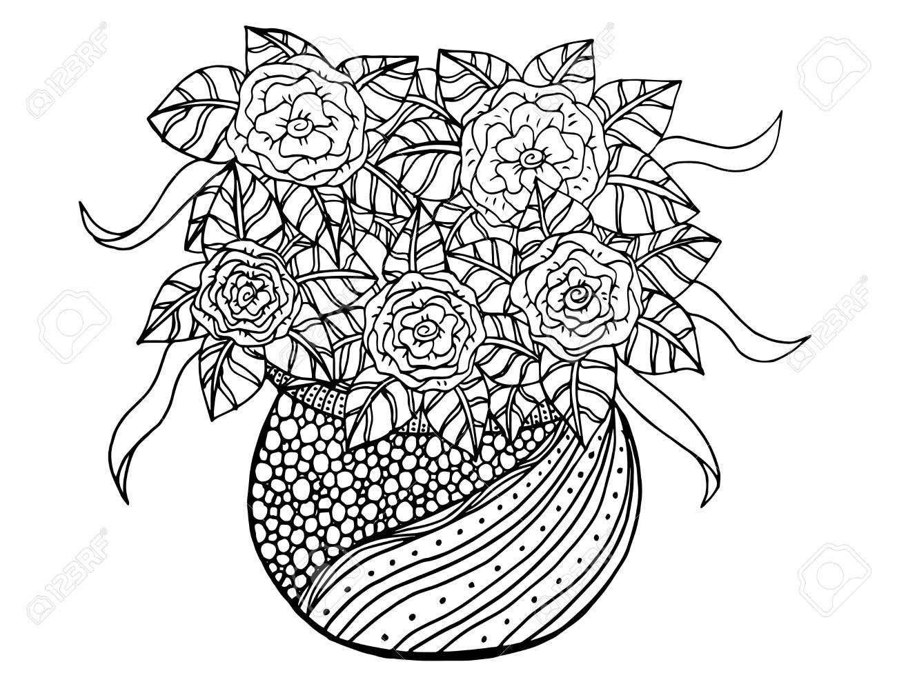 Doodle floral illustrated bouquet of flowers in a vase hand bouquet of flowers in a vase hand drawing stock vector izmirmasajfo