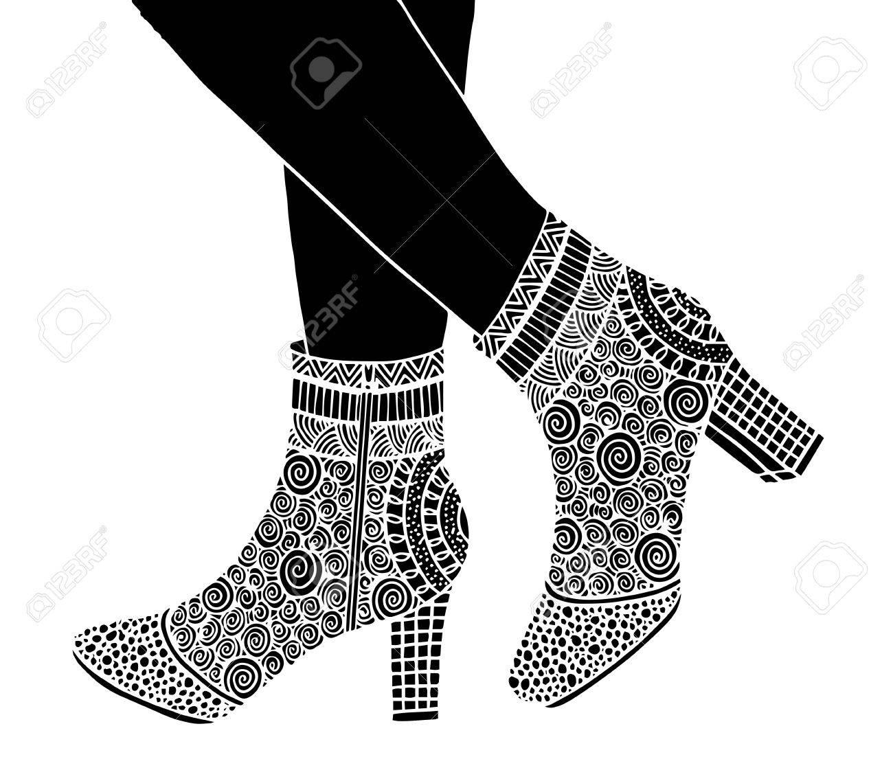 かわいい手は、概要観賞用の高いヒール靴イラストを描かれました