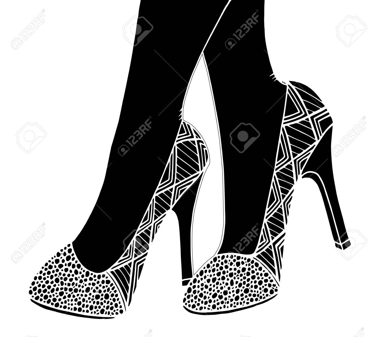 手描き概要観賞用の高いヒール靴イラスト ロイヤリティフリークリップ