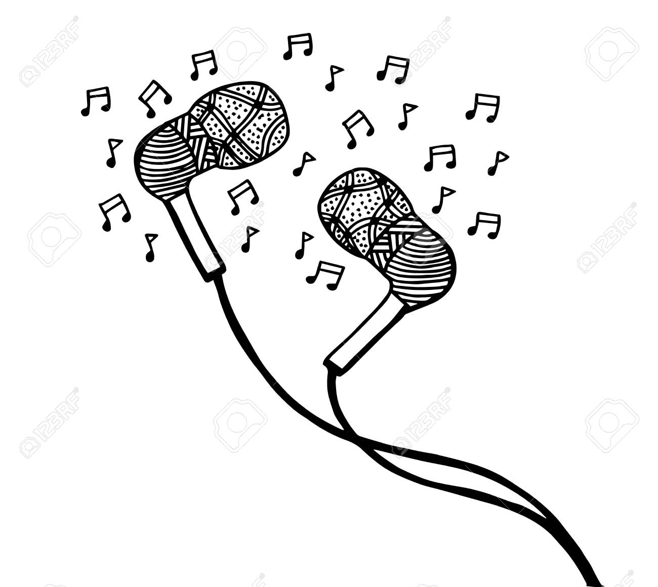 Doodle Style Headphones Vector Illustration With Musical Notes