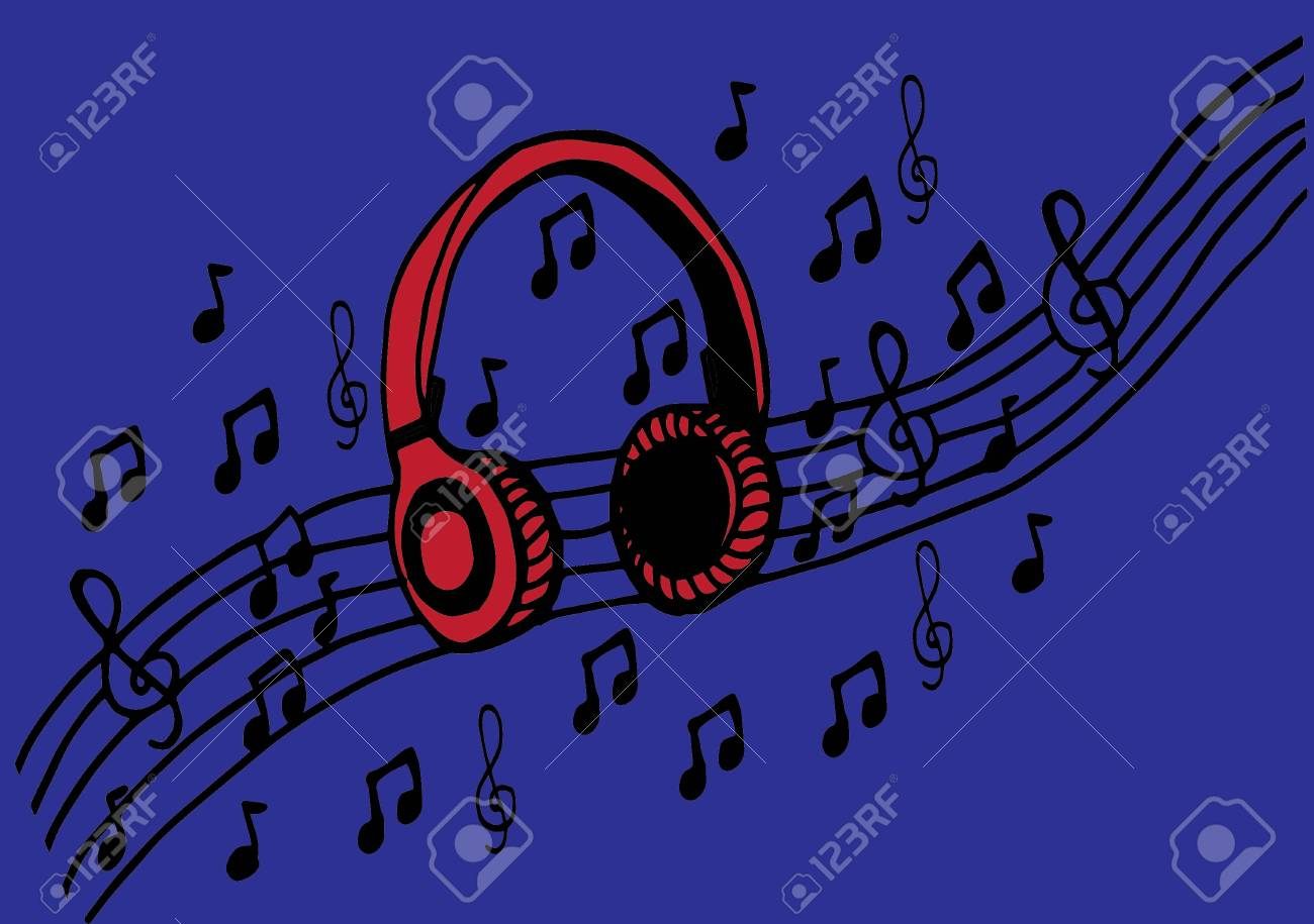 Doodle Estilo Auriculares Ilustración Vectorial Con Notas Musicales