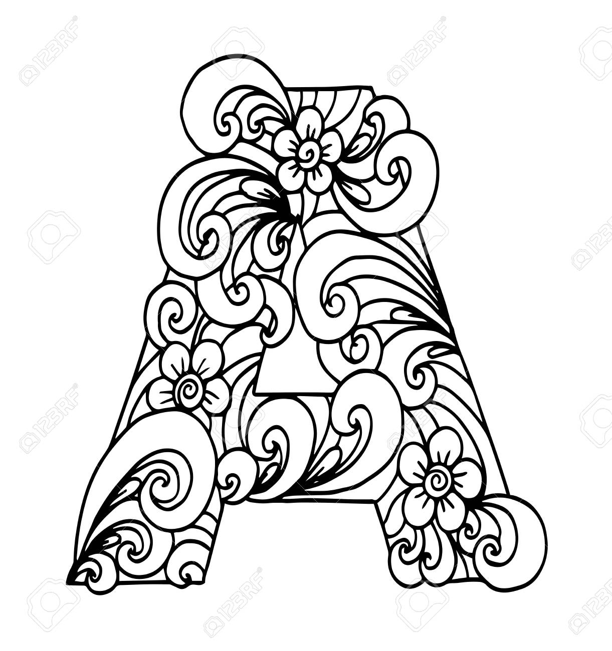 Stylized Alphabet Letter A In Doodle Style Hand Drawn Sketch Royalty Free Cliparts Vectors And Stock Illustration Image 95391360