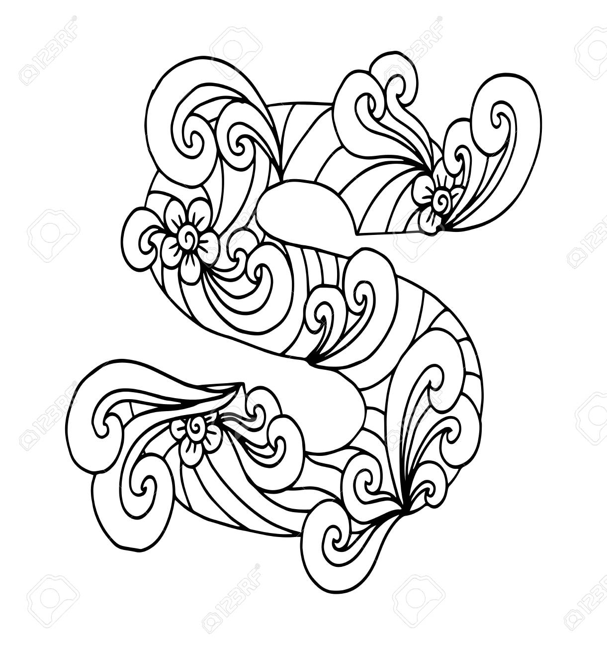 Zentangle Stylized Alphabet Letter S In Doodle Style Hand Drawn