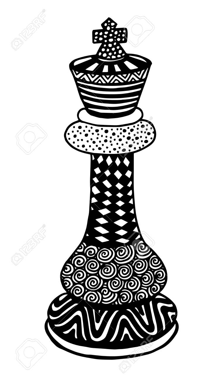 Hand Drawing Doodle Sketch Chess King Vector Illustration Art Stock