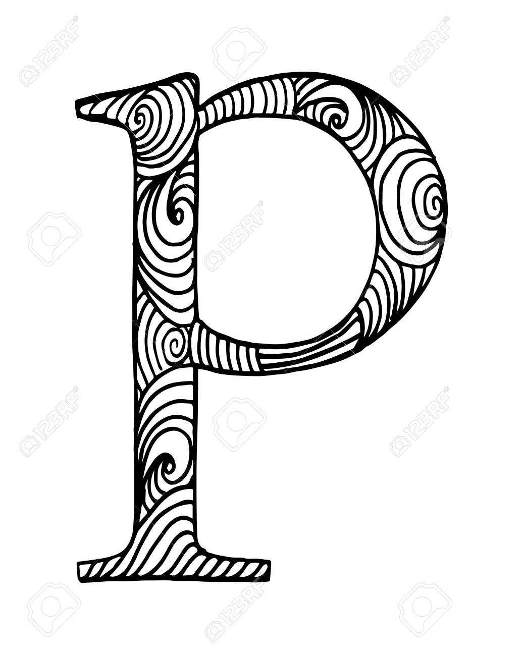 Zentangle Stylized Alphabet. Letter P In Doodle Style. Hand Drawn