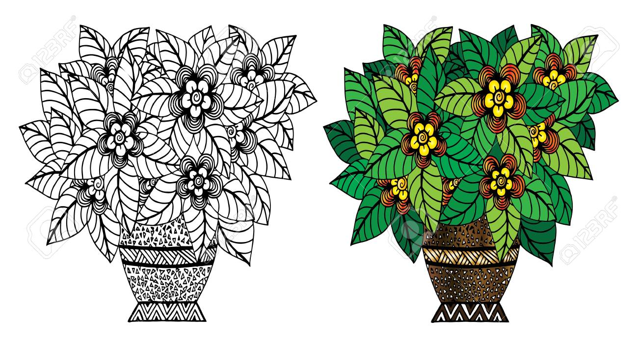 Vector doodle floral illustrated bouquet of flowers in a vase vector vector doodle floral illustrated bouquet of flowers in a vase hand drawing izmirmasajfo