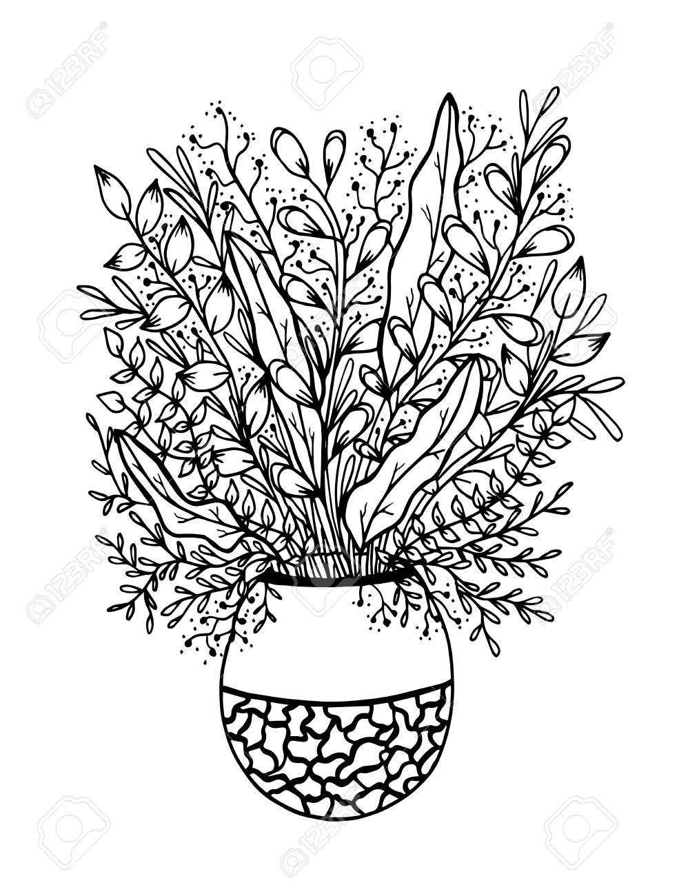 Flower Vase Coloring Page - Flower Vase Icon Png, Transparent Png ... | 1300x1014