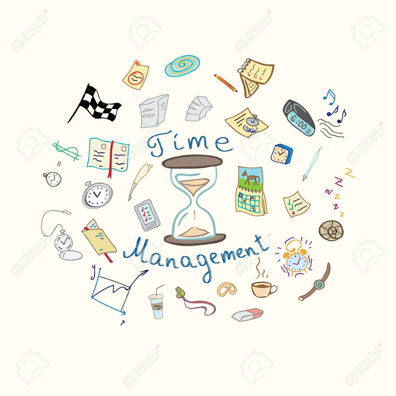 Vector Illustration Time Management Watches Notes And Notebooks Royalty Free Cliparts Vectors And Stock Illustration Image 48862714