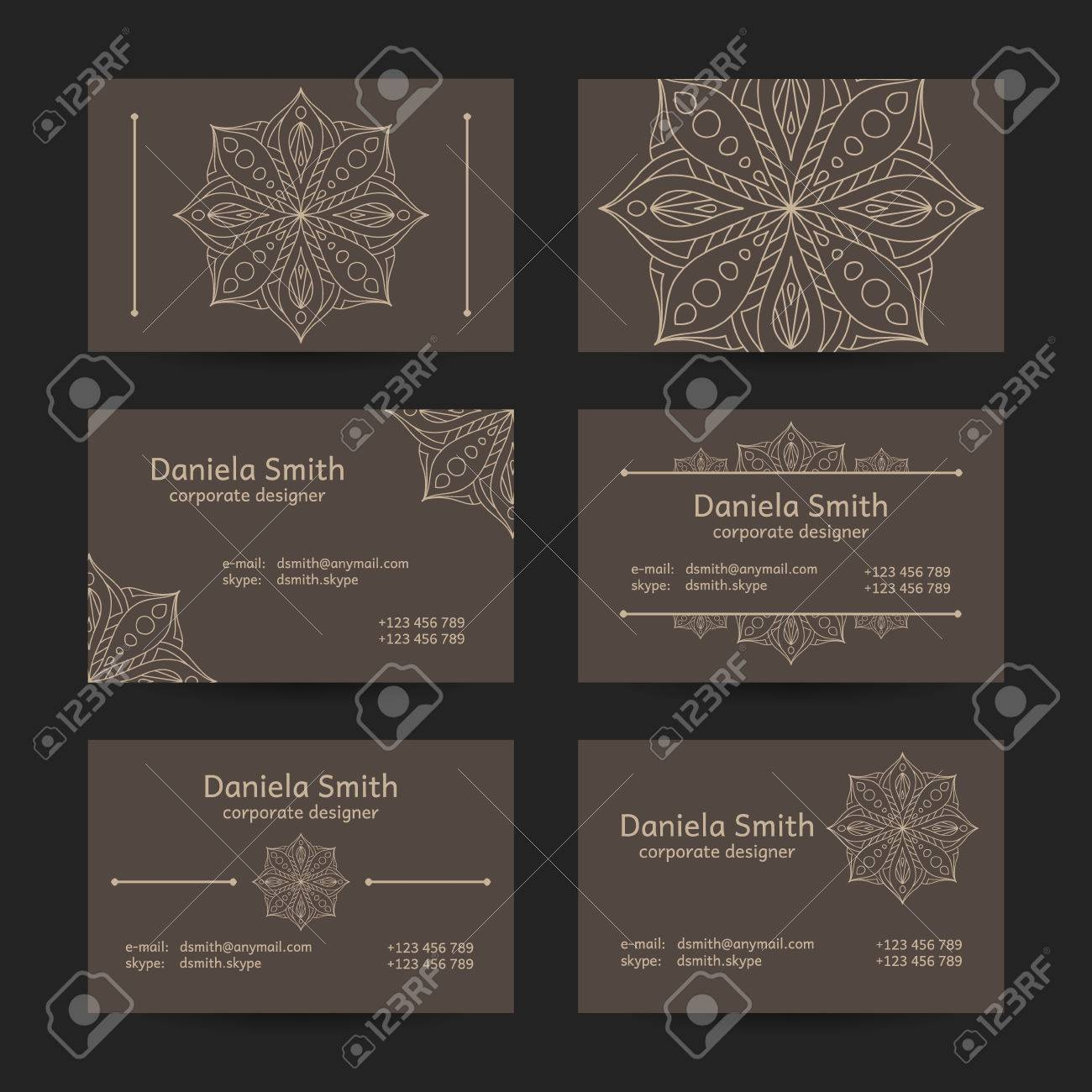 Vector set of vintage business card template designs oriental vector vector set of vintage business card template designs oriental style mandala business cards flashek Images