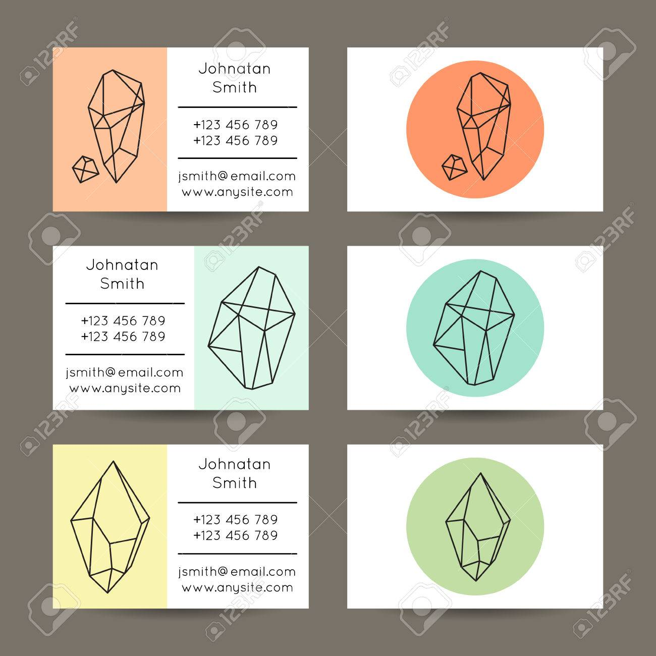 Set Of Vector Hipster Business Card Templates With Crystal Like ...