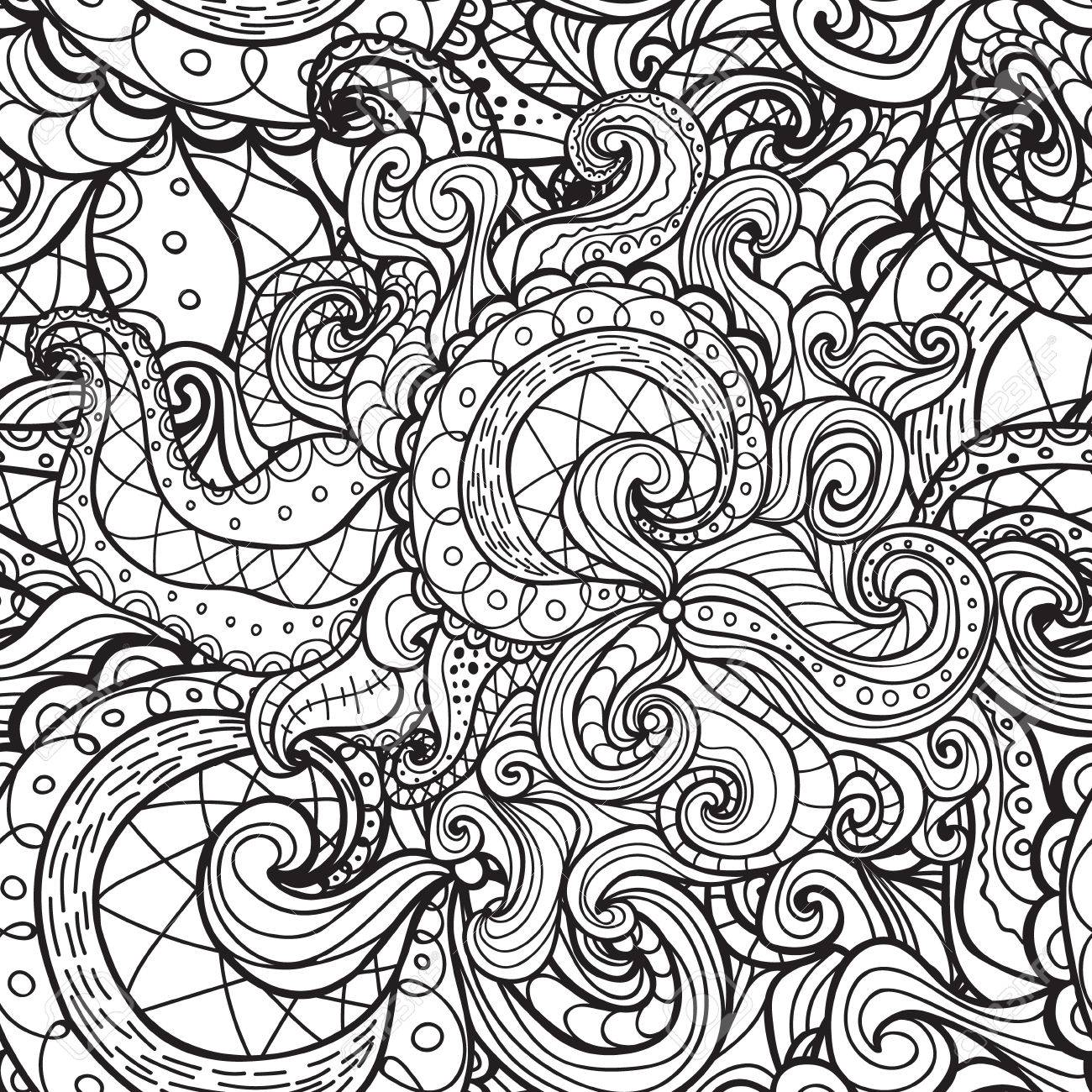 Vector Doodle Seamless Pattern Coloring Book For Adult And Children
