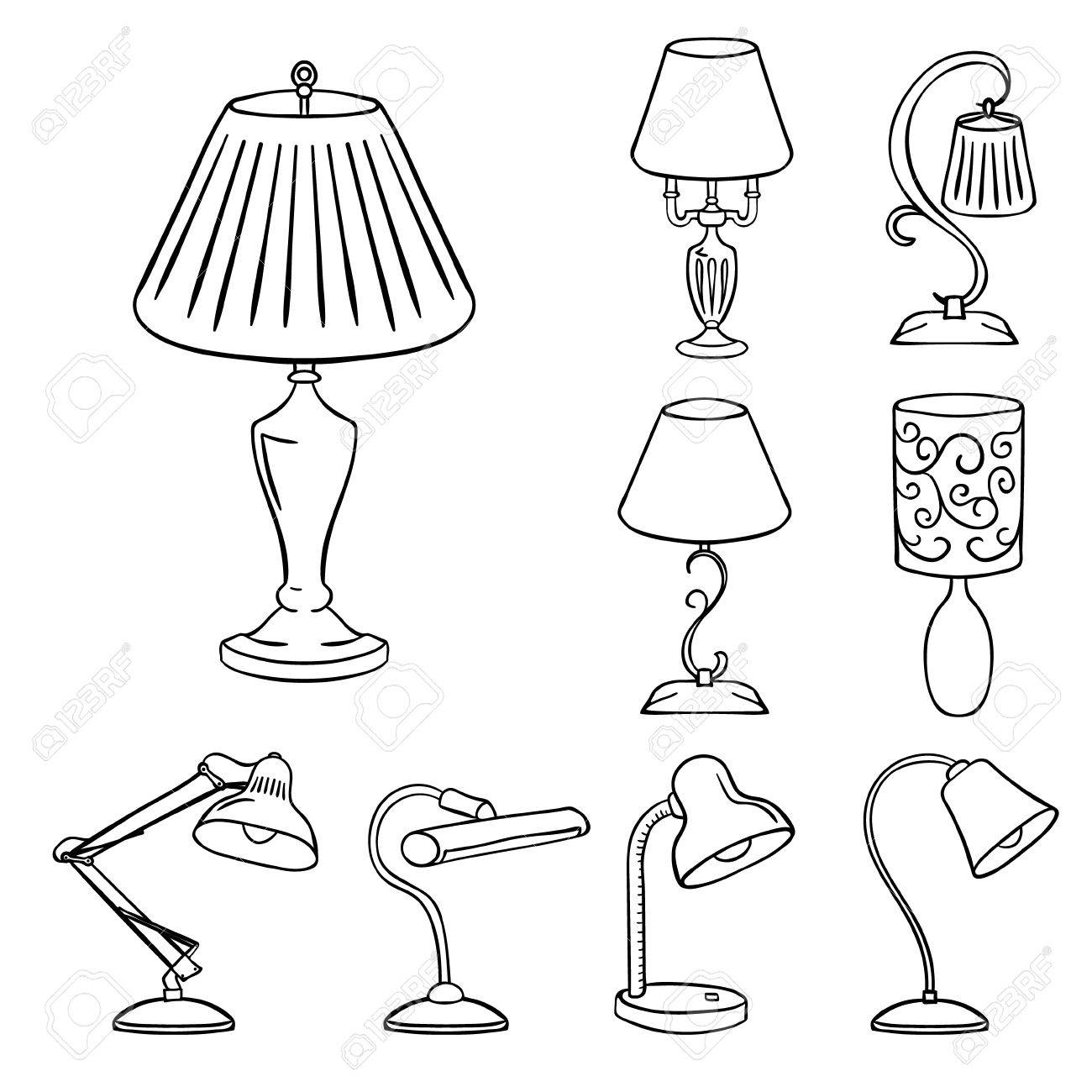 Set Of Sketched Table Lamps With Lampshades Vector Illustration Royalty Free Cliparts Vectors And Stock Illustration Image 52347476