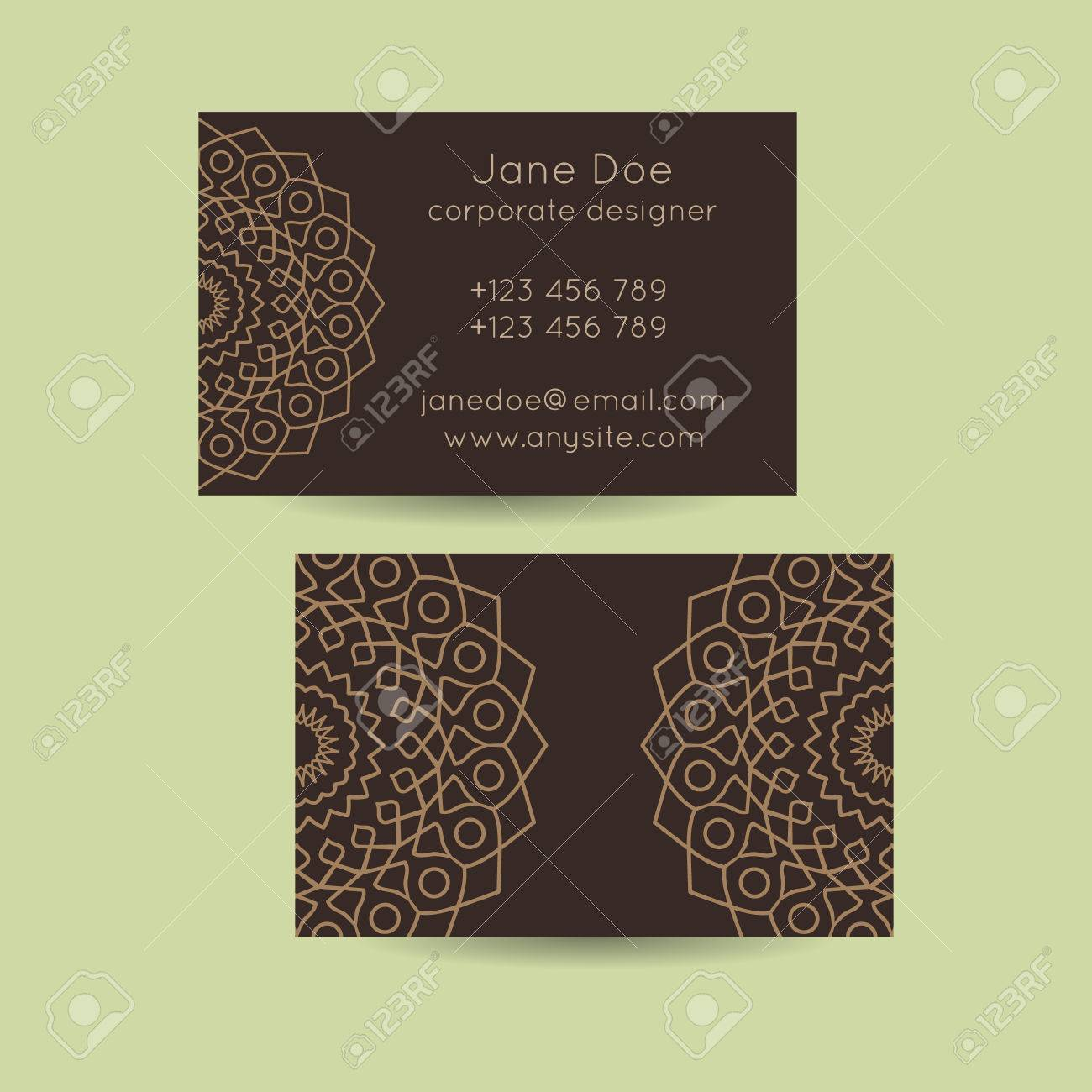 Set Of Vintage Mandala Business Card Template Designs. Mandala ...