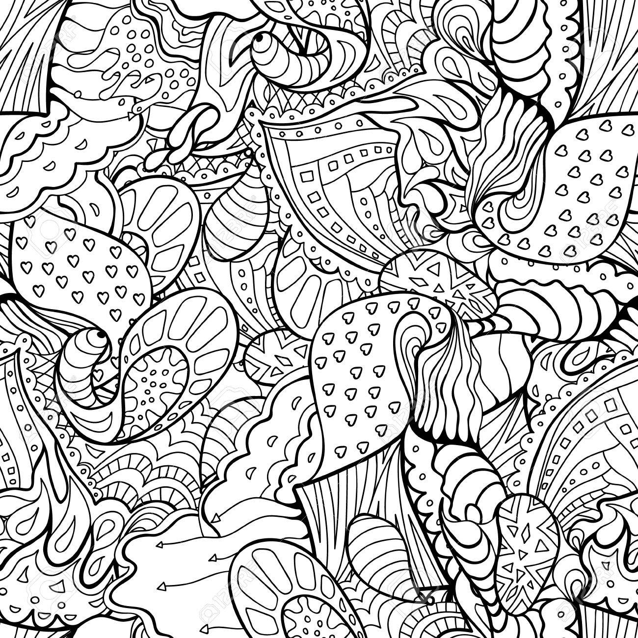 doodle seamless pattern. Coloring book for adult and children.Coloring..