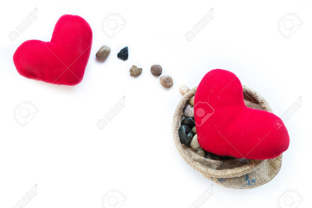 Two Red Pillow Hearts Stones Line Present As Sending For Valentine