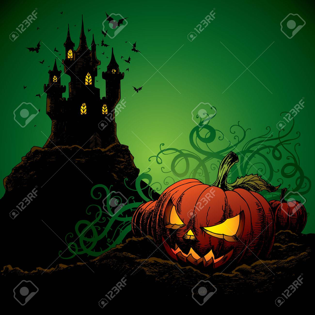 Halloween Invitation Or Background With Burg Fledermause Und Kurbis Standard Bild