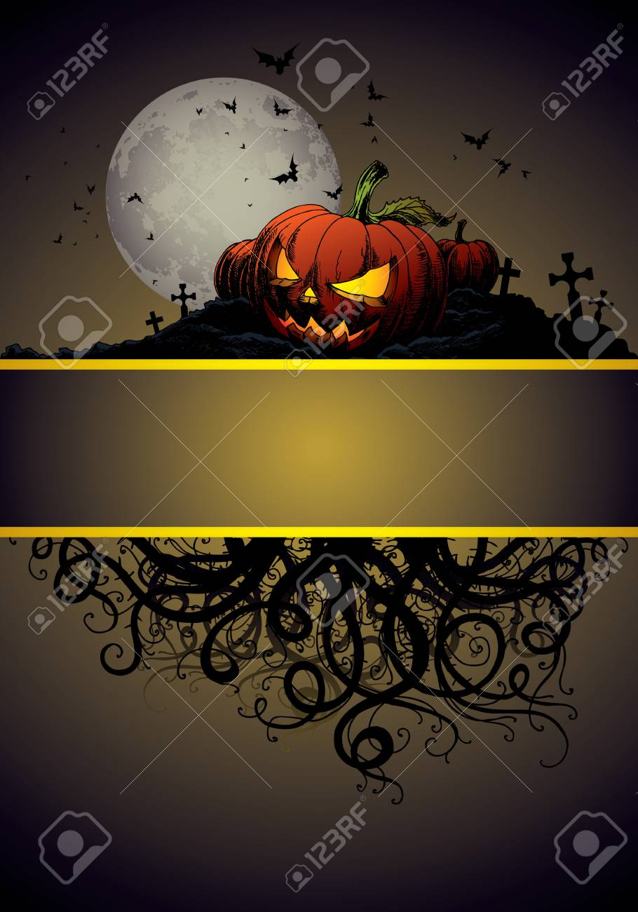 halloween invitation or background with castle, bats and pumpkin Stock Vector - 5594273