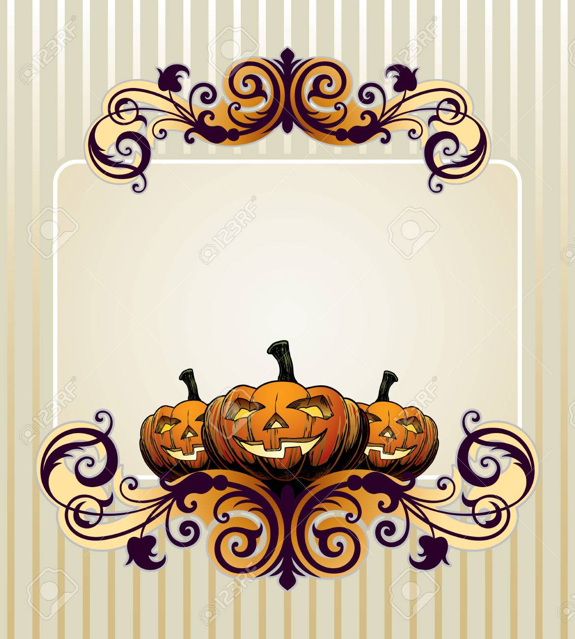 Halloween Invitation Or Background With Pumpkin Stock Vector
