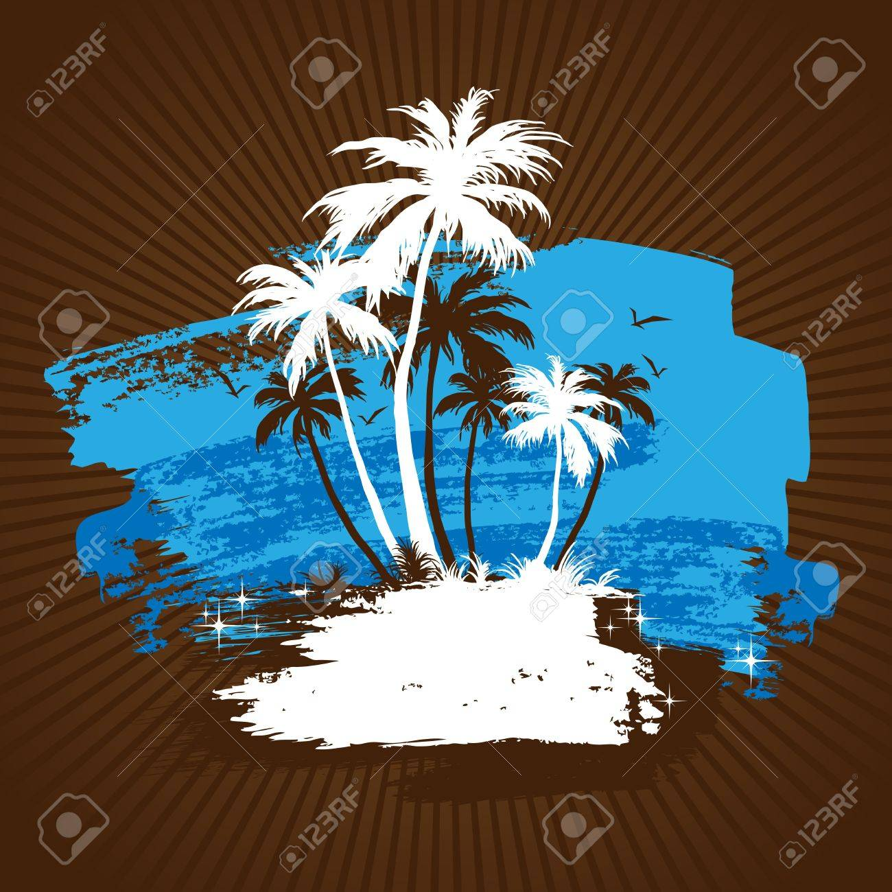 Tropical beach with palm trees - 7085363