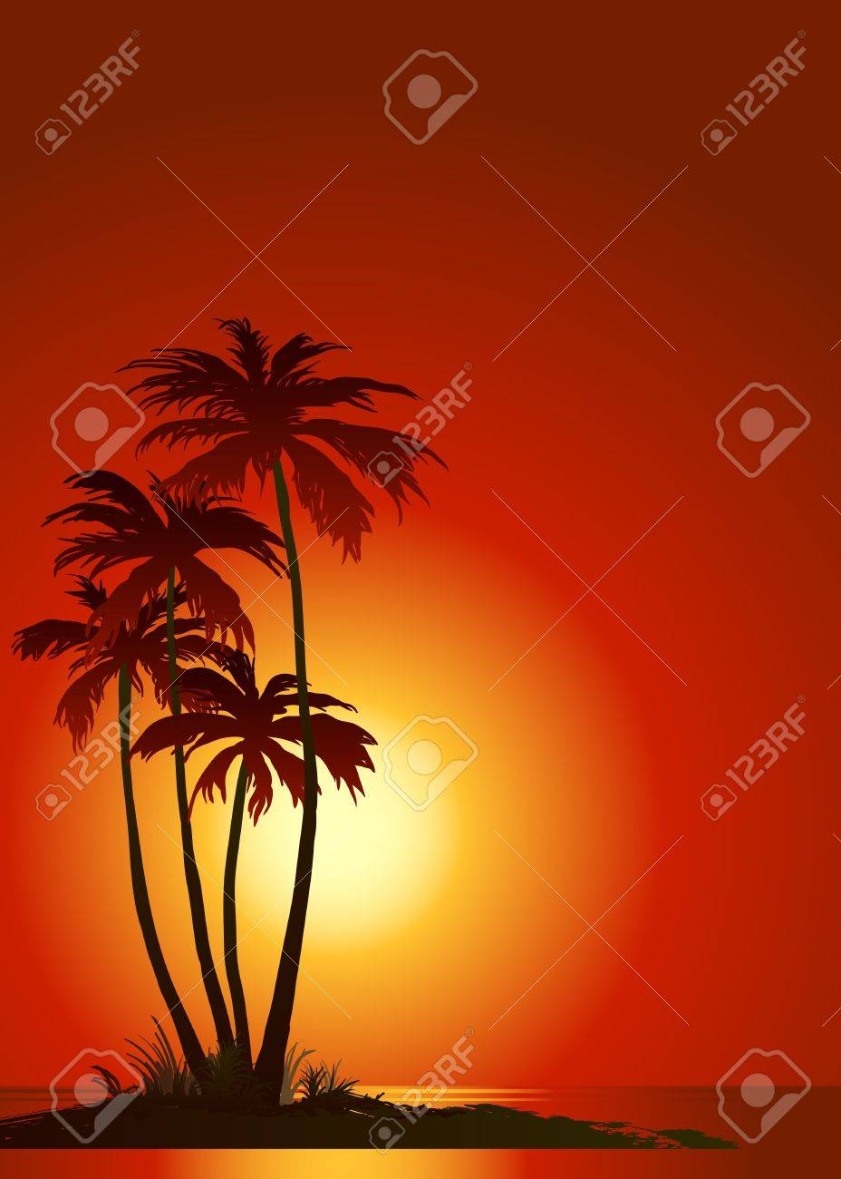 Tropical beach with palm trees - 7085355
