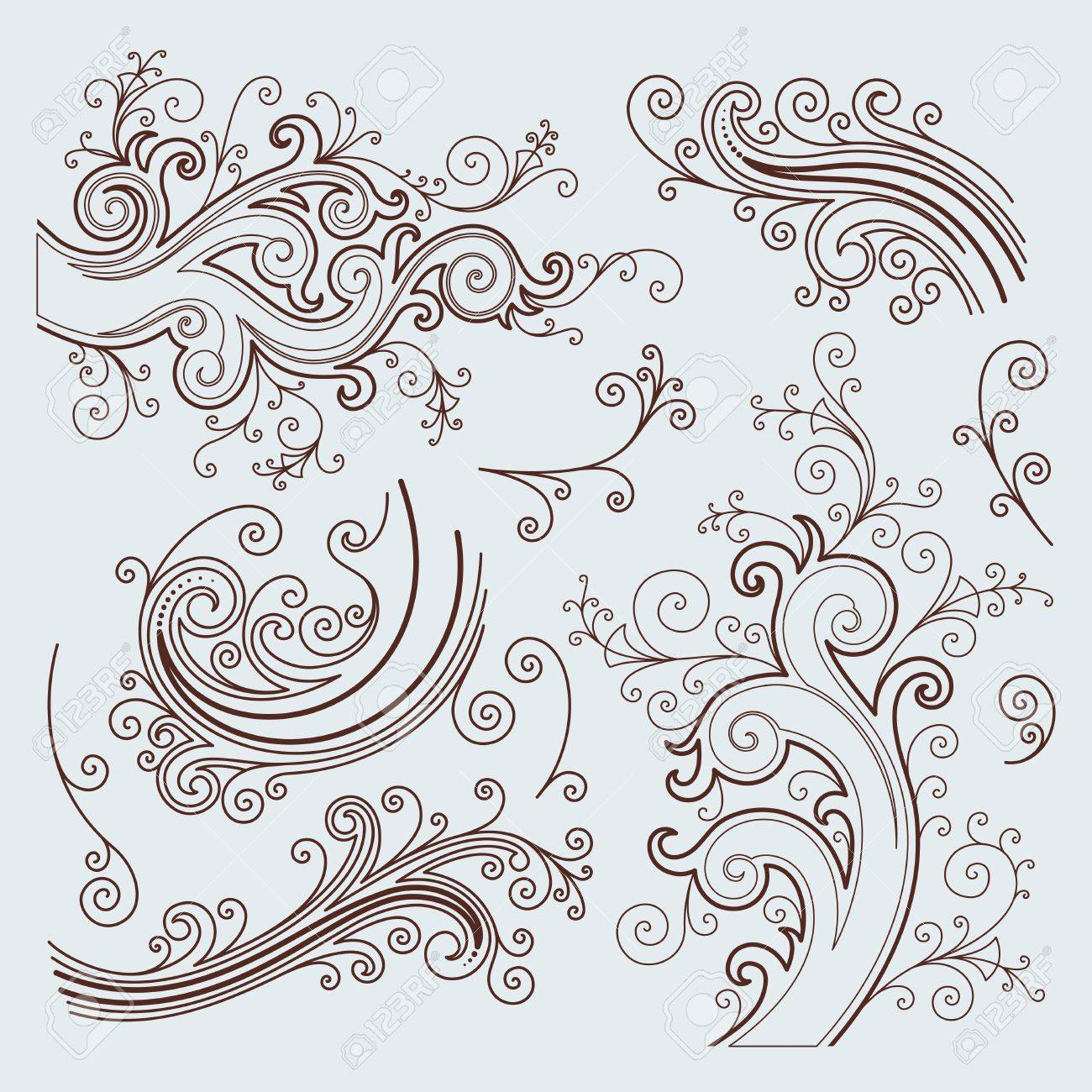 vector ornament set In flower style Stock Vector - 7145951
