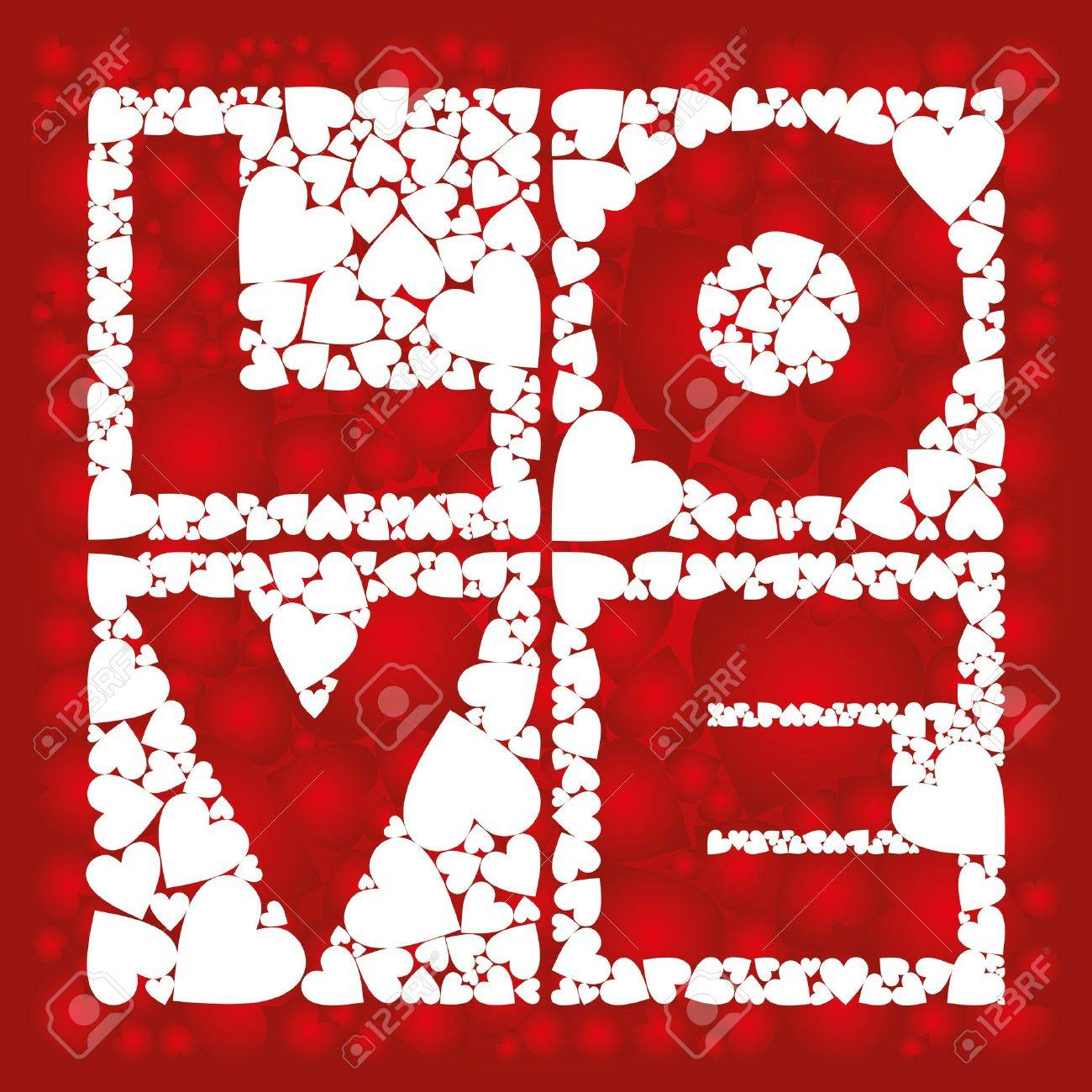 Inscription - love, in the squares with a heart - 8625800