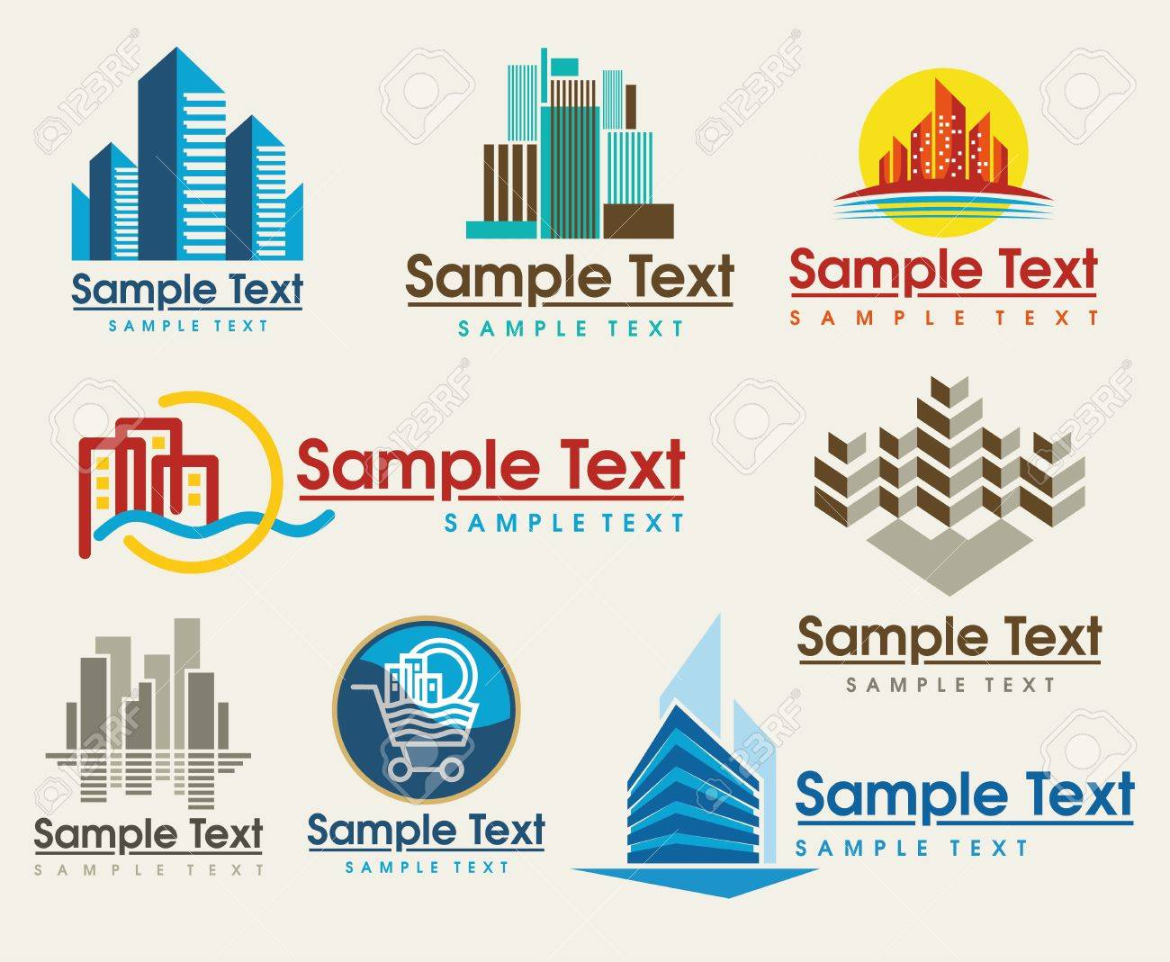 the set of city skyline signs - 9636967
