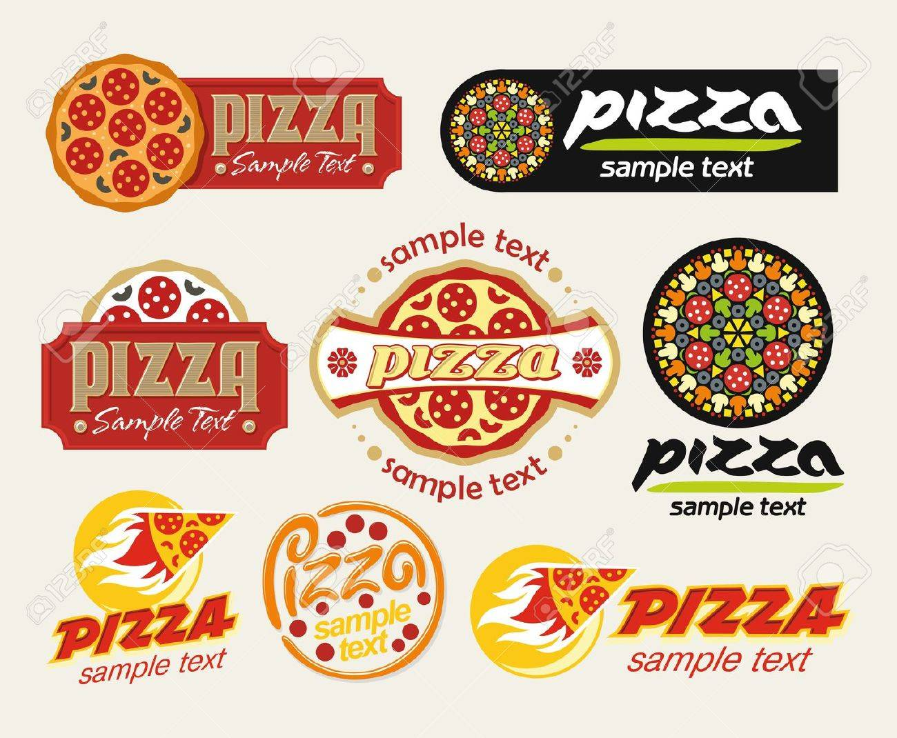 the set of pizza signs - 9636978
