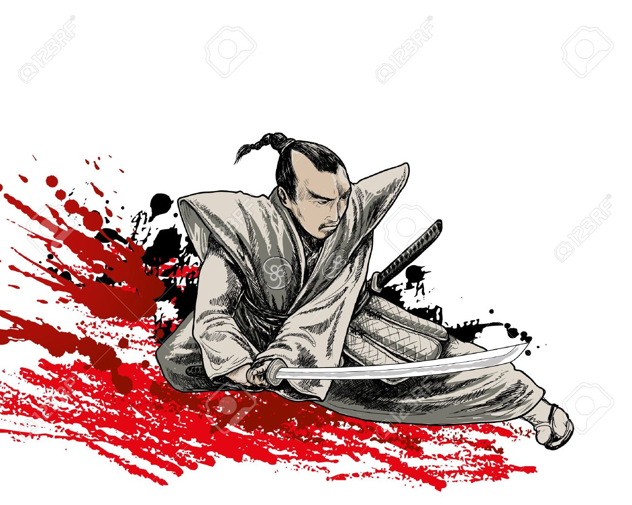 japan vector warrior on grunge background - 14563103
