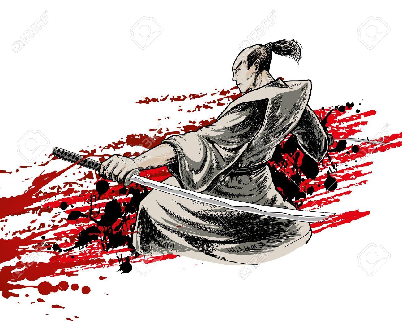 japan vector warrior on grunge background Stock Vector - 14563098