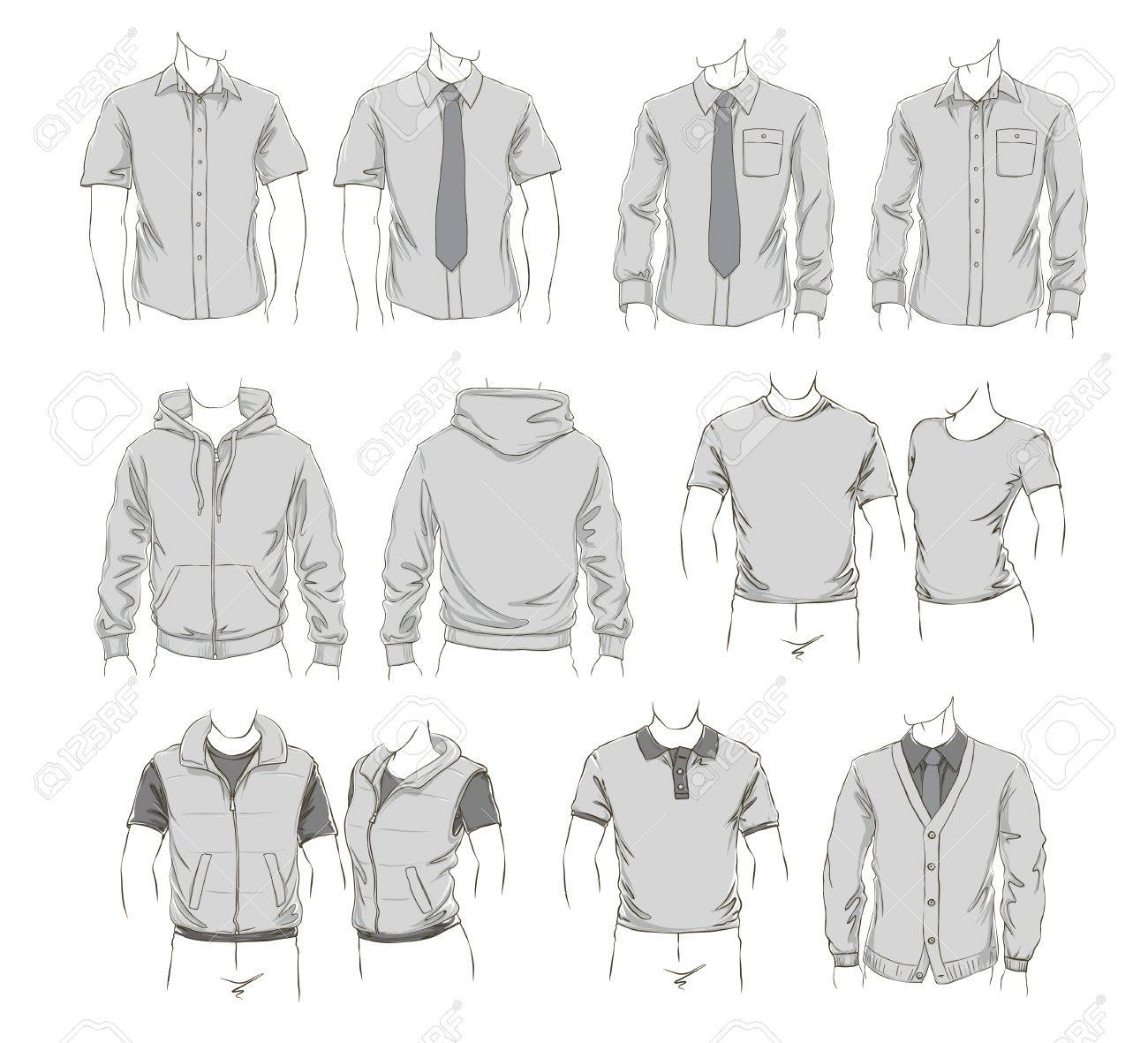 vector set of clothes template for visualisation branding promo