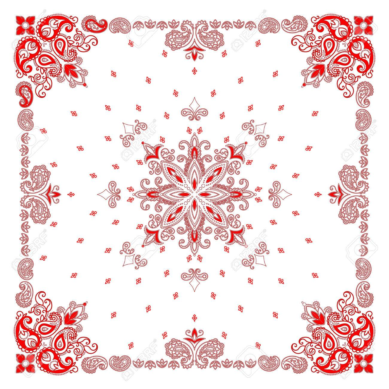 Vector ornament paisley Bandana Print, silk neck scarf or kerchief square pattern design style for print on fabric. - 54273374