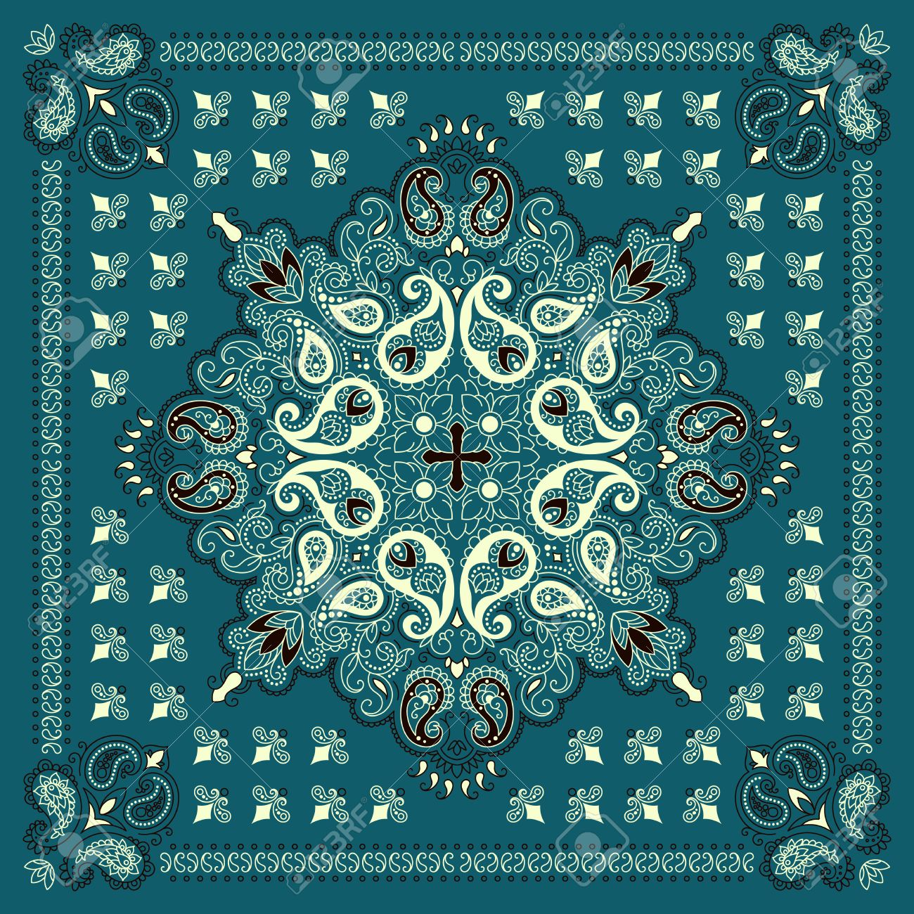 Vector ornament paisley Bandana Print, silk neck scarf or kerchief square pattern design style for print on fabric. - 54273381