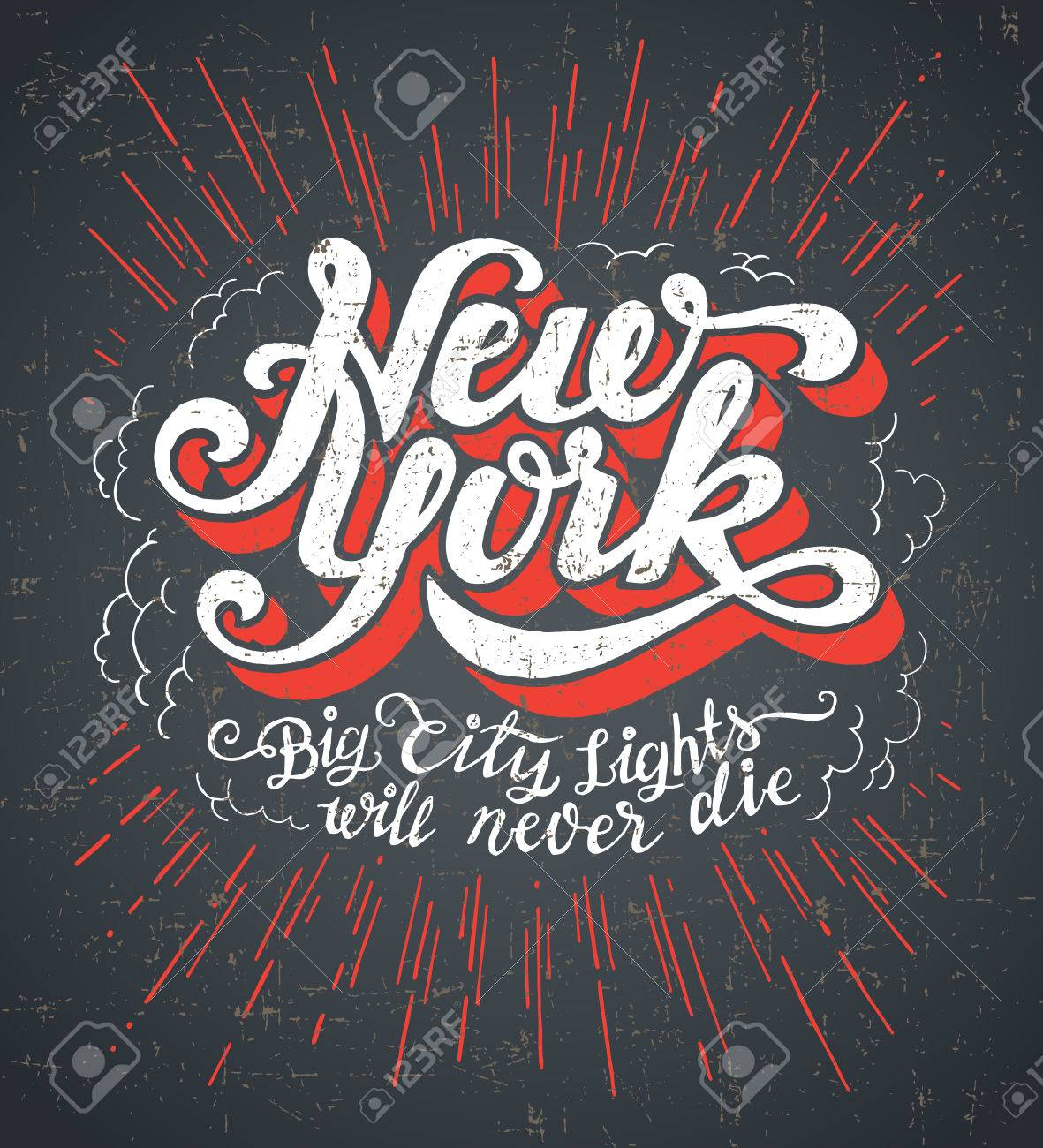 Vintage T Shirt Or Cover Print Design Of New York Lettering