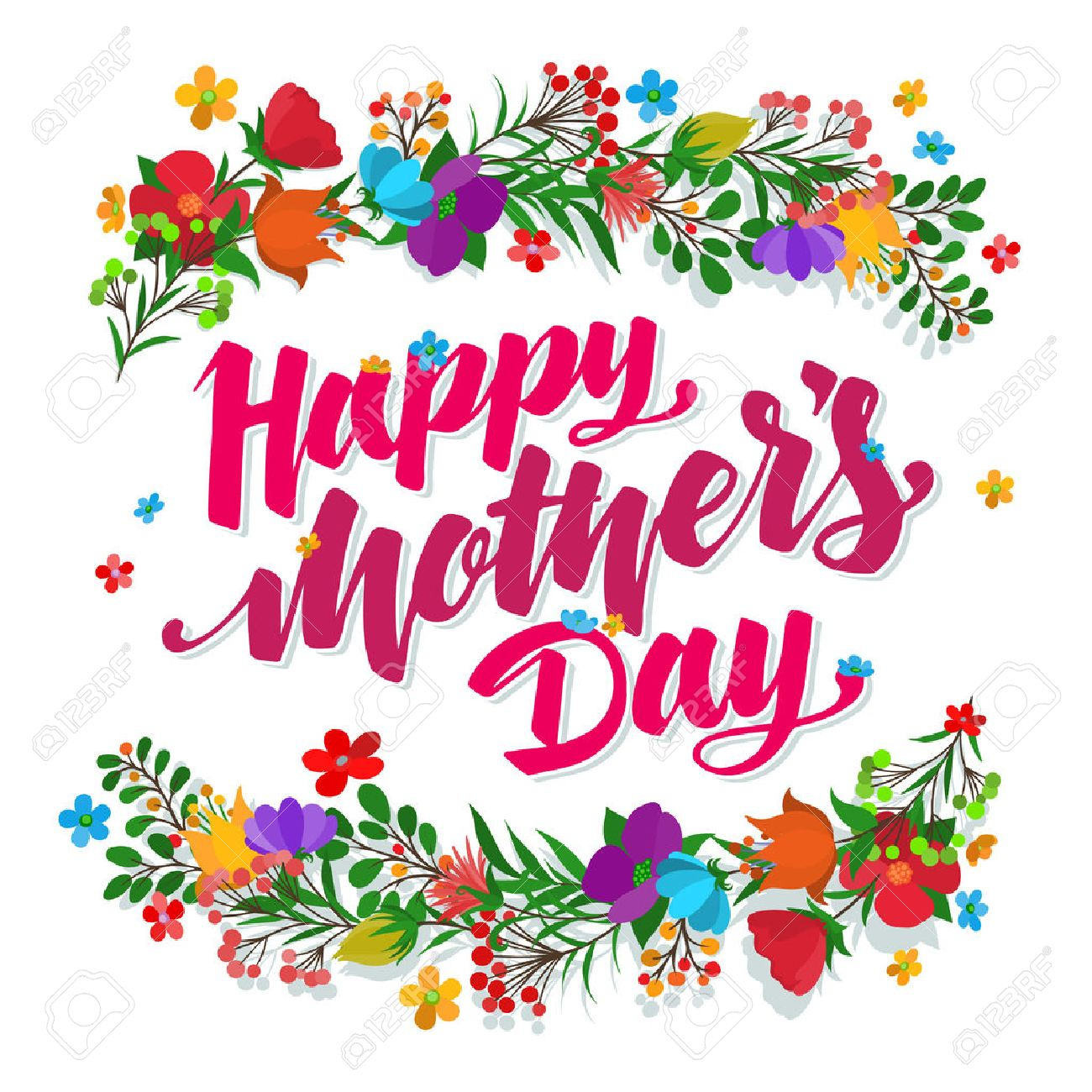 Lettering Happy Mothers Day beautiful greeting card. Bright vector illustration. - 54921010