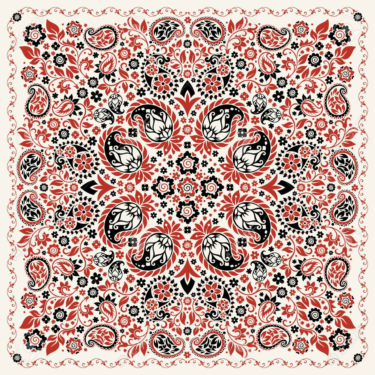 ornament paisley Bandana Print, silk neck scarf or kerchief square pattern design style for print on fabric. - 56401285