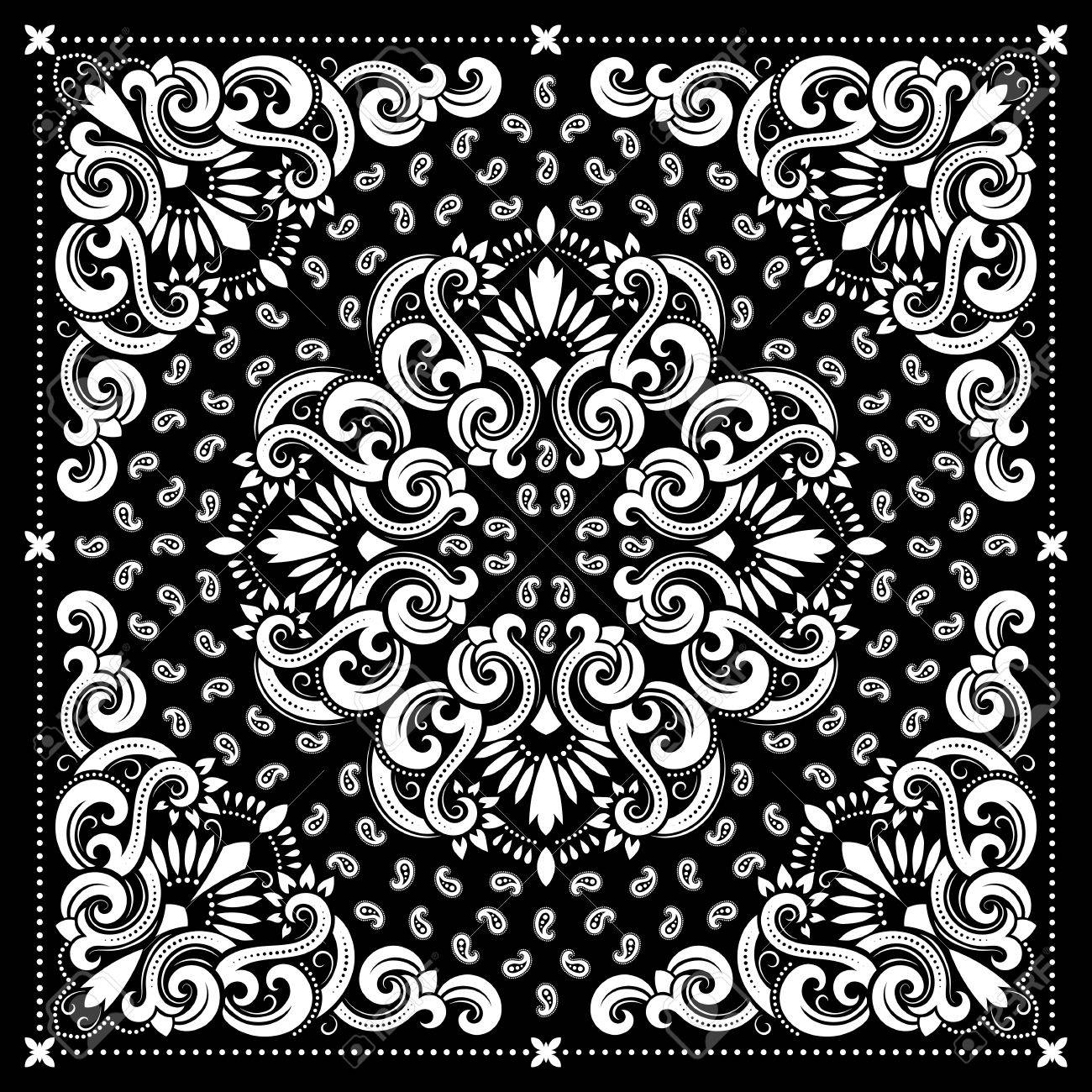 Vector ornament paisley Bandana Print, silk neck scarf or kerchief square pattern design style for print on fabric. - 60195976