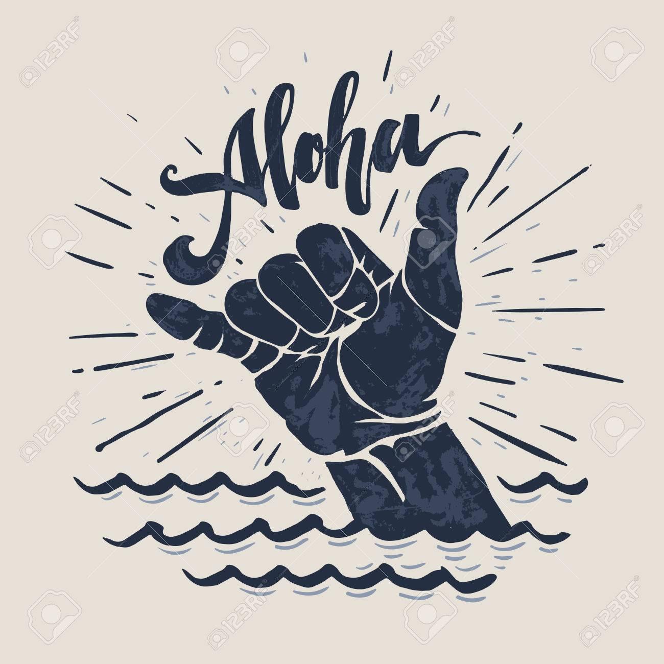 Surf hand sign. - 75344136