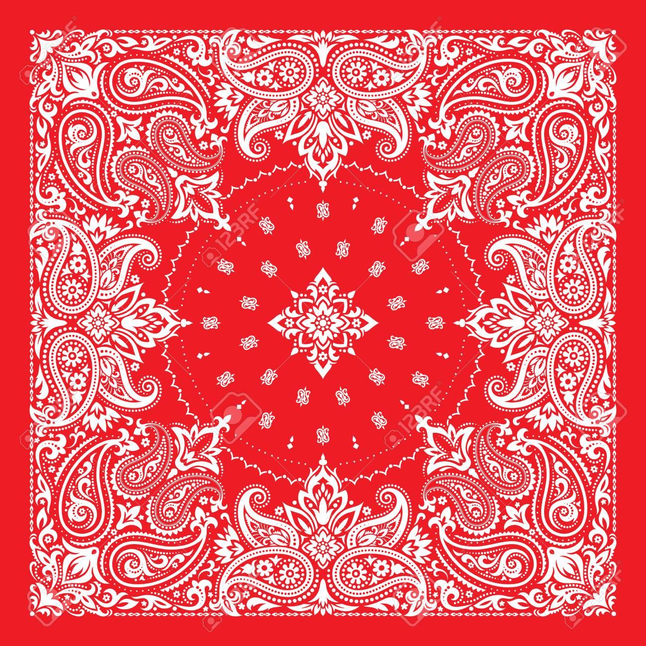 Bandana Print, silk neck scarf or kerchief square pattern design - 88986120