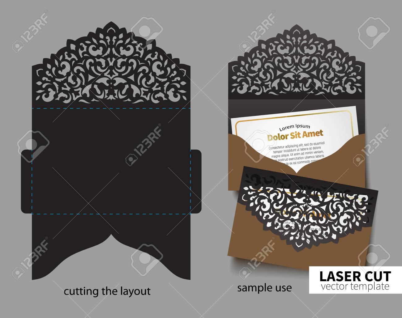 Digital vector file for laser cutting. Swirly ornate wedding invitation envelope. - 91101870