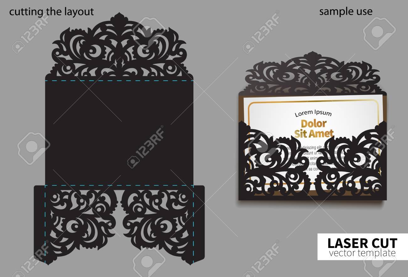 Digital vector file for laser cutting. Swirly ornate wedding invitation envelope. - 112052938