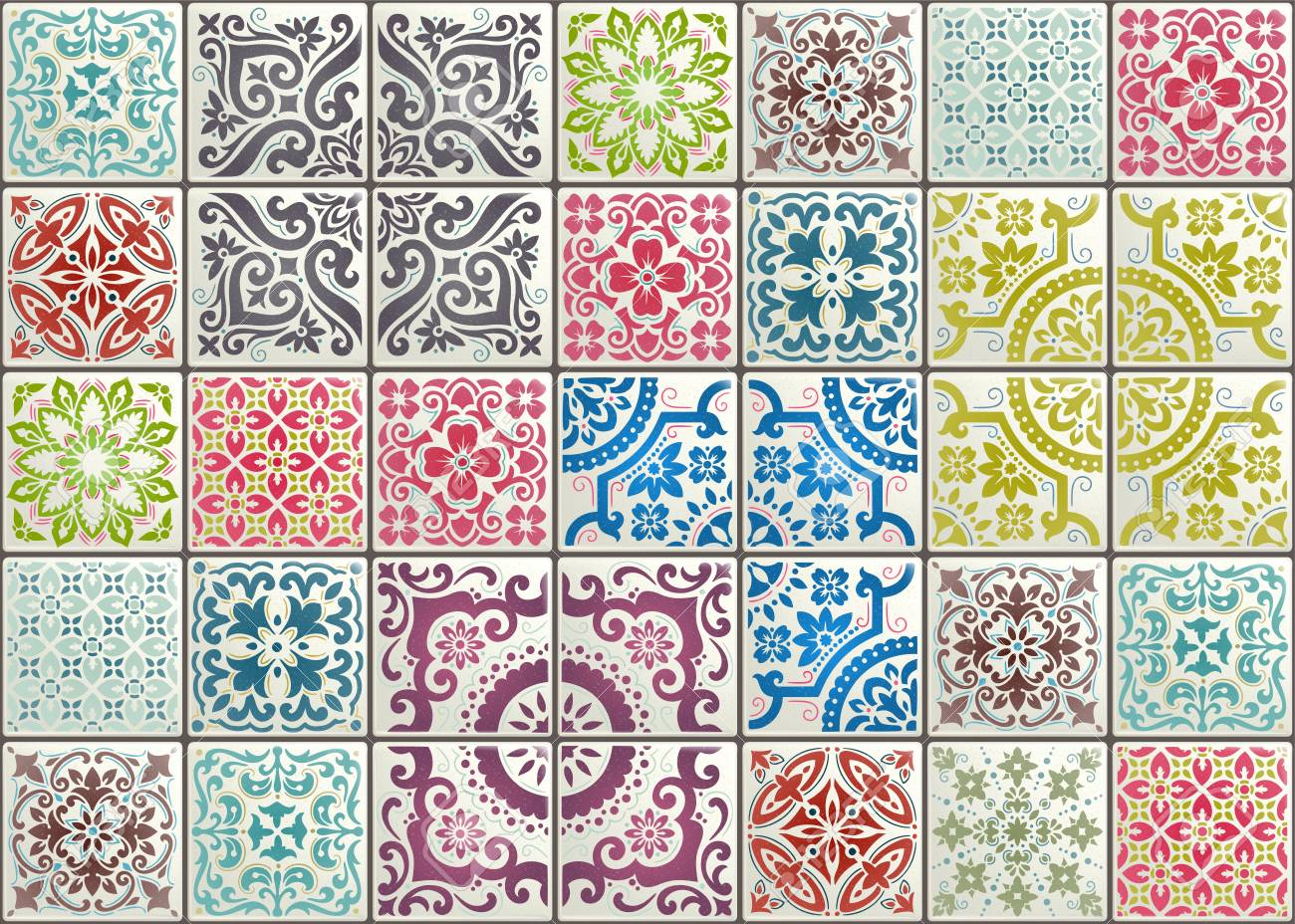 Seamless patchwork tile with Victorian motives. Majolica pottery tile, original traditional Portuguese and Spain decor. - 124789204