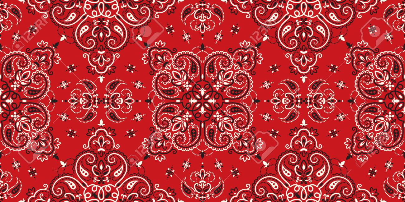Seamless pattern based on ornament paisley Bandana Print. Boho vintage style vector background. Silk neck scarf or kerchief square pattern design style, best motive for print on fabric or papper. - 122311426