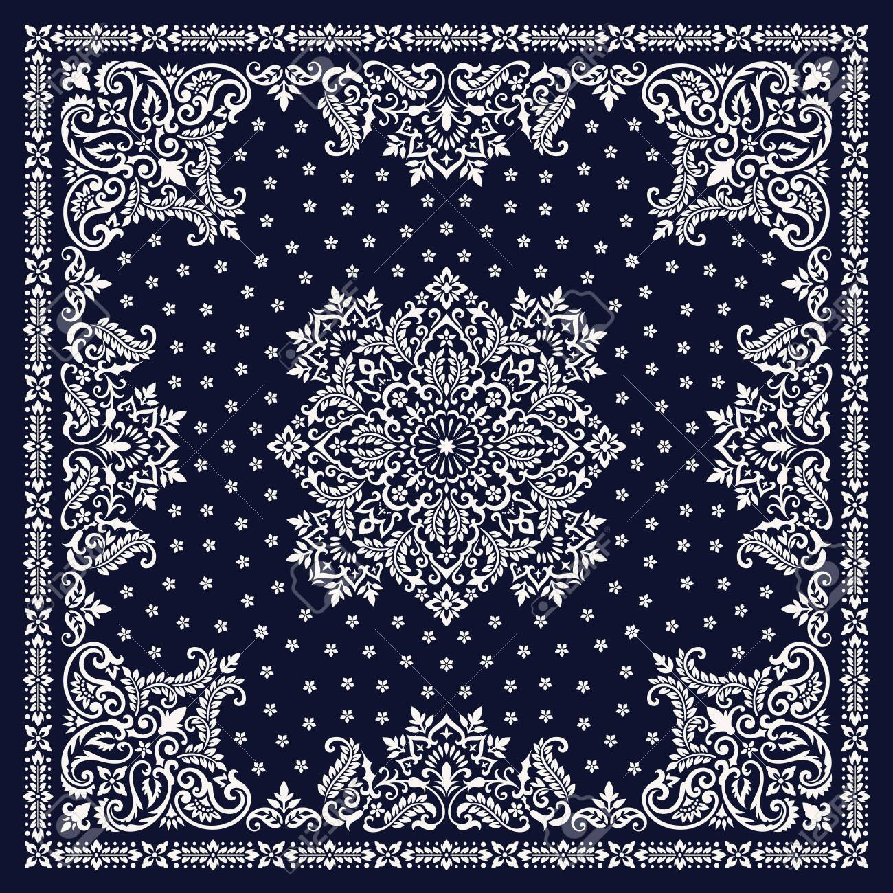 Vector ornament Bandana Print. Traditional ornamental ethnic pattern with paisley and flowers. Silk neck scarf or kerchief square pattern design style - 127985688