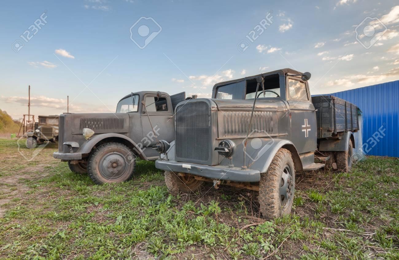 Old German military trucks of world war II outdoor