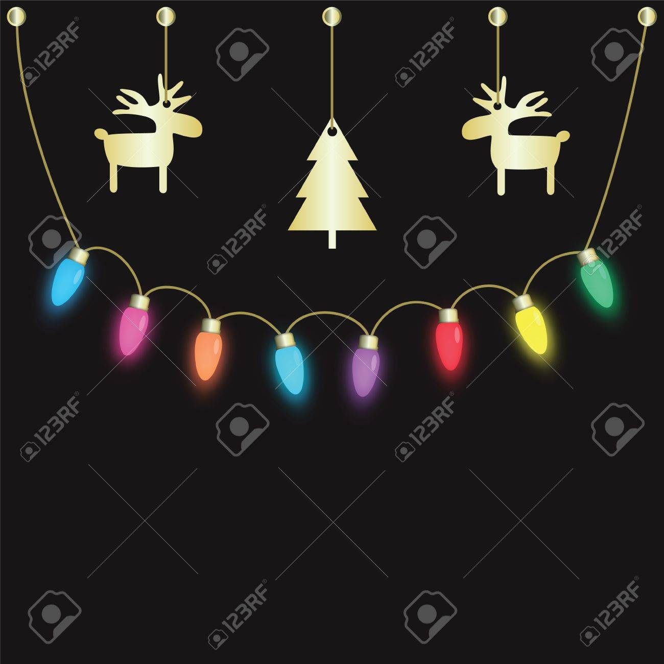 colorful party light bulbs hanging on dark background royalty free
