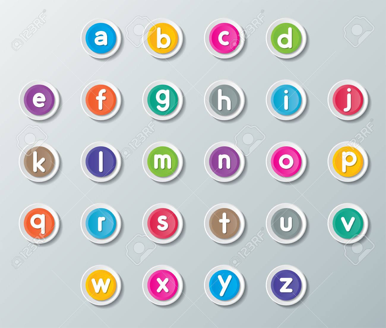 small letters A to Z on colorful paper buttons