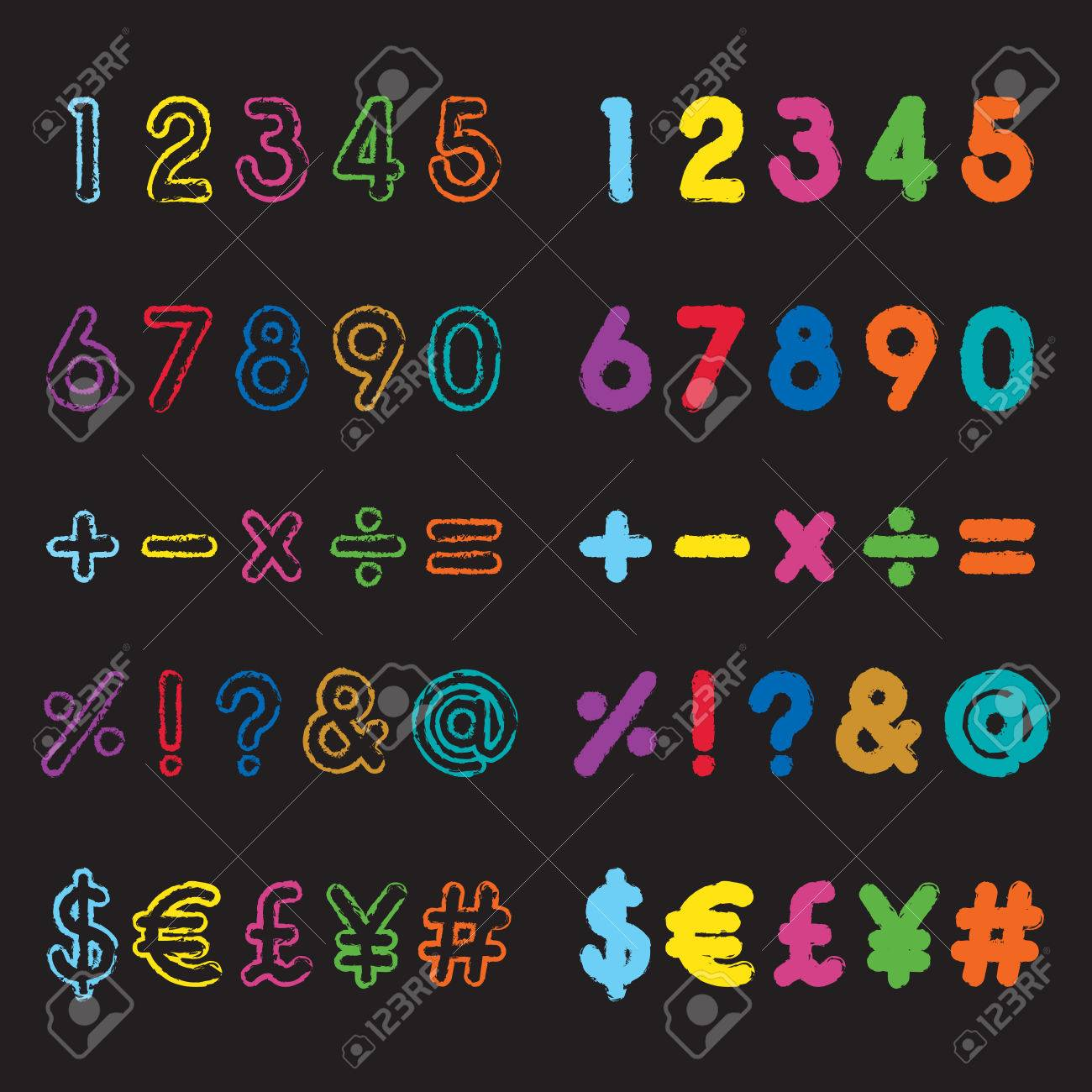 Colorful Grunge Style Number And Symbol Fonts Royalty Free Cliparts